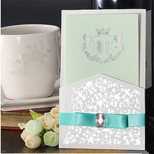 free shipping 50pcs/lot white and green  invitations cards with diamond rhinestones wedding invitation card  business invitation