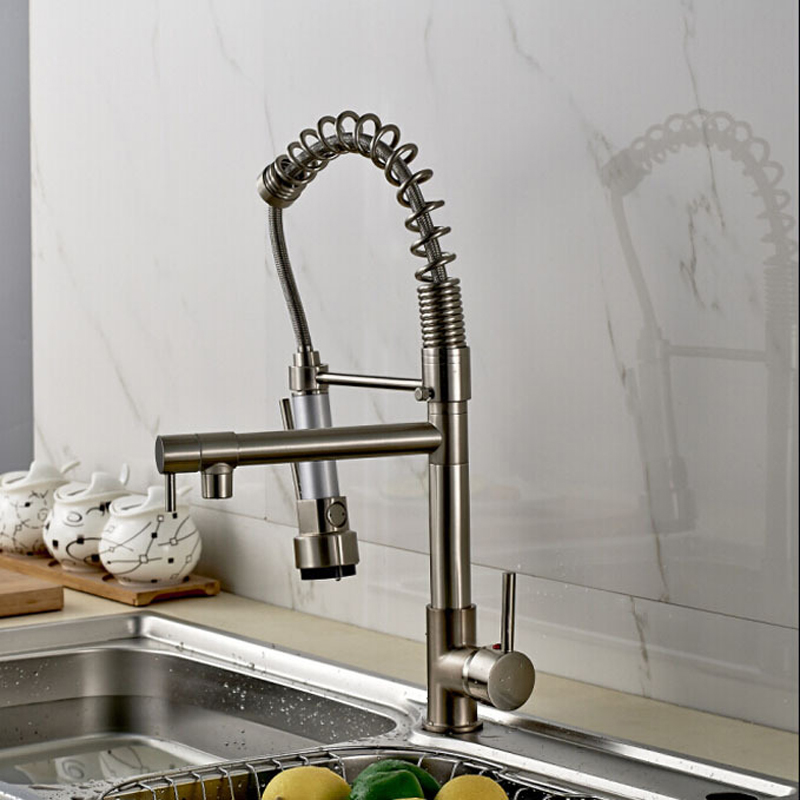 Promotion-Good-Quality-Kitchen-Faucet-Mixer-Taps-Brushed-Nickel-Dual-Sprayer-Spring-Kitchen-Sink-Faucet