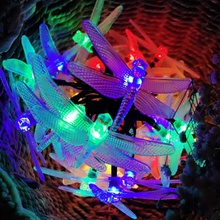 Solar Christmas Colorful Lights 23ft 30 LED 8 Modes Dragonfly Fairy String Xmas Party Decorations Lamp - Loving Green Store store