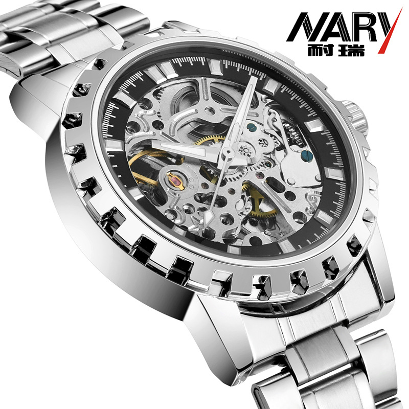 NARY 2017 New Hot Sale Skeleton Hollow Fashion Mechanical Hand Wind Men Luxury Male Business Stainless Steel Strap Wrist Watch<br>