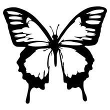 14.4*13.4CM Classic Butterfly Vinyl Car Stickers Cool Car Styling Decal Accessories Black/Silver S1-2910