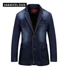 Manvelous Denim Blazer Men 2017 Brand Casual Loose Jacket Coats Cotton Blends Plain Pockets Blue Color Mens Denim Suits Blazers