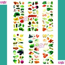 6 Sheets Real Vegetables Greens Greengrocery Tomatoes Scrapbooking Bubble Stickers Emoji Reward Kids Toys Factory Direct Sales(China)