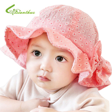 Newborn Baby Summer Outdoor Bucket Hat Children Bowknot Cap 100% Cotton Sun Beach Cap Cute Baby Girls Sun Hats Free Shipping