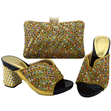 Latest Shoes and Bag Set Gold Color Italian Ladies Shoe and Bag Set Decorated with Rhinestone Nigerian Women Shoes and Bag Sets