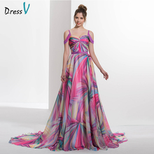 Dressv 2017 Spaghetti Straps A-line printed long prom dress beading zipper up off the shoulder formal evening dress prom dress(China)