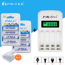 PALO intelligent LCD display Indicator 4 Slots AA/AAA Battery Charger AA charger 1.2v+ 8pcs aa 3000mah NiMh rechargeable Battery