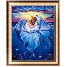 Naughty Dolphin 5D Diamond Embroidery Painting Cross Stitch DIY Craft Home Decor 40*30cm-F1FB