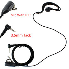 New 1 Pin 3.5mm Earhook PTT With MIC Earpiece Headset for YAESU Radio VX-2R/3R/5R/160 FT TSP Black C1021A