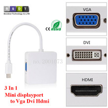 3 In 1 Mini displayport DP Thunderbolt to DVI VGA HDMI Converter Adapter cable for iMac Mac Mini Pro Air Book TO Monitor TV(China)