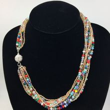7 Colors Multi Colors Bohemia Glass Seed Bead and Crystal Choker Necklace Statement Jewelry Boho Style Silver Magnetic Clasp(China)
