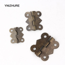 50PCS Mini Bronze Gold Square Antique Door Butterfly Hinges For Wooden Cabinet Drawer Decorative Jewelry Wooden Gift Box Hinges(China)
