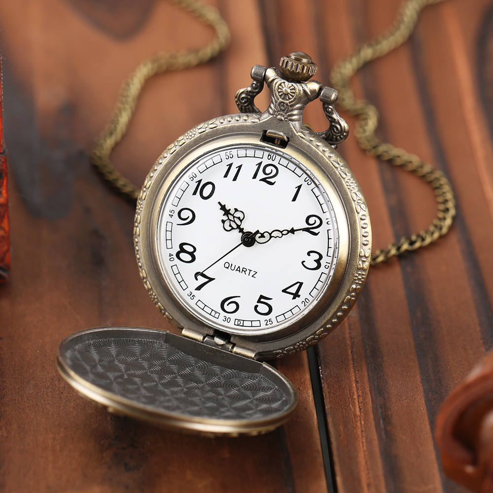 Mens Bronze Wolf Pendant Chain Pocket Watch Theme Full Hunter Skeleton Necklace Quartz Women Watches Vintage Clock With Gift Bag1 (8)