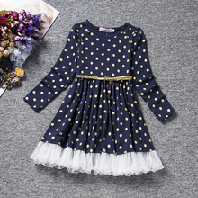Kids Party Wear Dress Girl 2017 Children's Girl School Clothes For Holiday Costume Polka Dots Toddler Girls Clothing Free Sashes