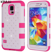 Bling Glitter Case for Samsung Galaxy S5 i9600 Girl Diamond Shockproof Hybrid Hard Rubber Silicone Armor Phone Protective Cover(China)