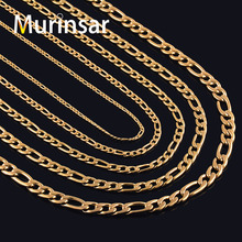 Gold Filled Stainless Steel Necklace Figaro Chain for Men and Women Stainless Steel Gold Link Chain Necklace High Quality(China)