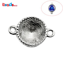 Beadsnice pure silver 925 gemstone connector pendant bezel setting connectors for bracelet can fit 8.5x8.5x5.5mm crystal ID30864(China)