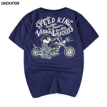 Summer High Quality  Harley Motorcycle and Cartoon Characters Printed T Shirt Cotton Short Sleeve O-Neck T-shirt Men M-XXL TXS6