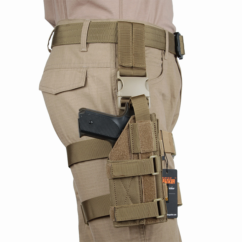 Military Tactical Mini Drop Leg Panel with Universal Pistol Holster Outdoor Hunting Hanging Suit Equip
