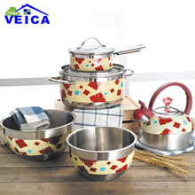 7pcs Red Color Stainless Steel Cookware Set Casserole+Milk Pot+kettle Kitchen Cooking Tools Free Shipping(China)