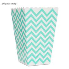 Aqua Blue Chevron Popcorn Box, Pop Corn Scoop, Aqua Party Favor Boxes Chevron Party Supplies, Aqua Birthday Party, Wedding Favor