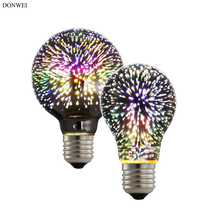 DONWEI Holiday Night 3D Fireworks Effect Decorative Light Colourful A60 G80 5W E27 LED Bulb for Christmas New Year's Wedding(China)