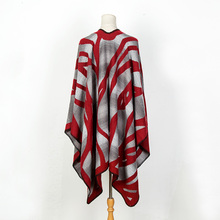 [POBING] 2017 New Brand Winter Women Poncho Striped Cashmere Scarf Vintage Blanket Leopard Oversized Knitted Cape Lady Shawl