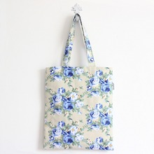 YILE Cotton Linen Shopping Tote Shoulder Carrying Bag Eco Reusable Bag Printed Blue Flower L150