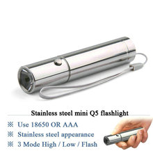 LED MINI Flashlight Stainless steel Torch 3 Mode Cree Q5 waterproof torch led lamp