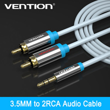 Vention rca jack cable 2 rca male to 3.5 male audio cable 2m 3m 5m aux cable for Edifer Home Theater DVD VCD iPhone Headphones(China)
