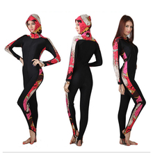 SBART Sun Protective Padded Hooded Women Wetsuits Diving Suits Leopard Rash Guards Swimsuits Long Sleeves DAE