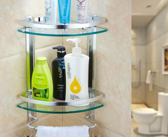 Glass bathroom shelving the toilet of the toilet of the bathroom of the tripod wall hanging double space aluminum storage rack.<br>