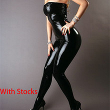 Buy Cheap Exclusive Sexy Black Leather Latex Catsuit Strapless Bondage Bodysuit Wet look Clubwear Jumpsuit Pole Dance Clothes