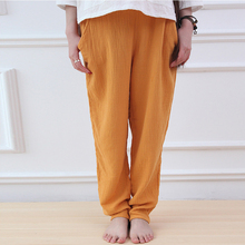 Johnature 9 Colour Women Brief Pants Elastic Waist 2017 Autumn New Casual Cotton Linen Trouser Vintage Suitable Pockets Pants