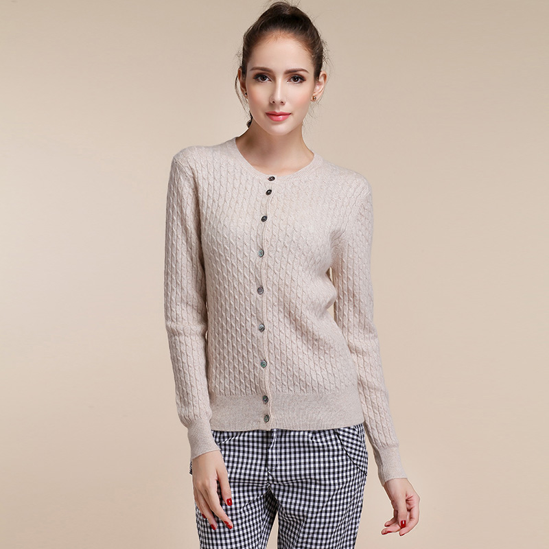 Women's Long Sleeve Knitted Cashmere Cardigan Sweater Women Autumn Winter Cable Knit Warm Cardigans Female Fashion Trendy Tops(China (Mainland))