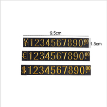 Whole sale price tags 10 pieces a lot black tags Cube Price Tag Label Sign Euro/Dollar/RMB With Gold Number three styles showes(China)