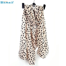 Womail Scarves Newly Design 1pc Women Fashion Black Cat Chiffon Scarf 160905 Drop Shipping