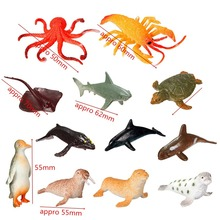 12pcs/set Plastic Marine Animal Model Toy Figure Ocean Creatures Dolphin Kids Toy Best Model Gift For Children Kids