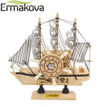 ERMAKOVA 19cm Mediterranean Style Wooden Craft Sailing Boat Model Sailboat Handmade Carved Sailing Ship Model Home Office Decor(China)