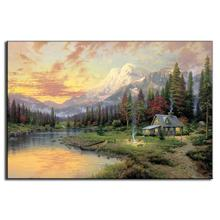 1 Pcs Forest Canvas Landscape Paintings Mediterranean Smoke Curf Dust Wall Art Bathroom Decor(China)