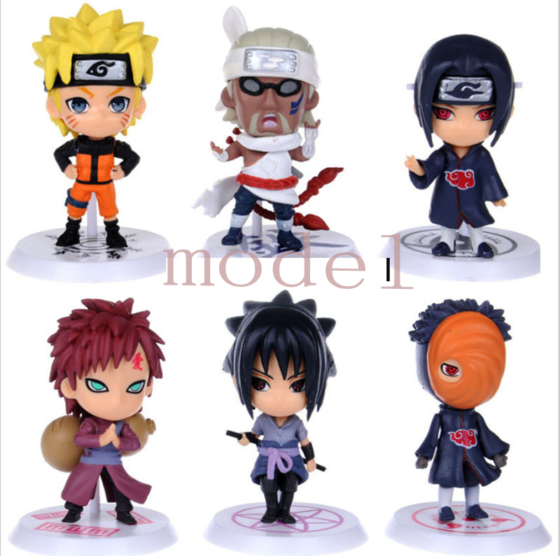 6Pcs/set Anime HOKAGE Naruto Cartoon Mini Cute Version PVC Material Kids Toy Collection Action Gigure Model Hot Sale(China (Mainland))