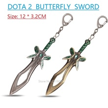 12cm DOTA 2 The ButterflySword Weapon Key Chain Alloy Butterfly Sword Keychain Cosplay Accesssory Souvenirs Chaveiro Llavero