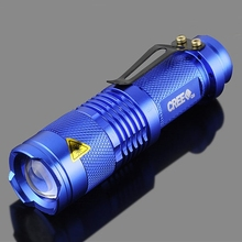 Mini CREE Q5 LED Flashlight Torch 2000LM Zoomable Lamp Adjustable Focus Light Lamplight For 14500 AA Battery Blue