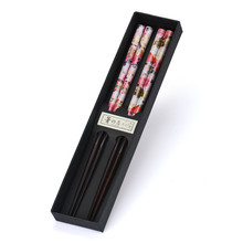 2 Pairs Set Japanese Natural Handmade Wood Chopsticks Gift Tableware Chopsticks Chinese Style Printing Patterns Classic retro