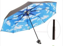 Wholesale high quality blue sky umbrella vinyl anti-uv three folding umbrella free shipping