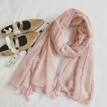 2017 spring New Chinese Style High Quality Soft Cotton Women Long Tassel Pink Scarf Slim Cotton Viscose Pashmina elegant Shawls