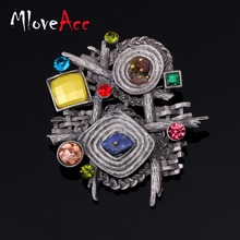 MloveAcc Multicolor  Stone Scarf Clip Vintage Brooches for Women Antique Ethnic Retro Irregular Geometric Brooch Jewelry