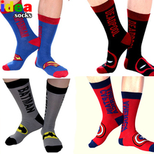 Classic cartoon anime cotton jacquard mens socks super union hero long skateboard socks street sox chaussette homme(China)