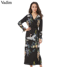 Vadim flower crane pattern maxi wrap dress v neck retro sashes bow tie long sleeve vintage bird chic long loose casual Vestidos(China)
