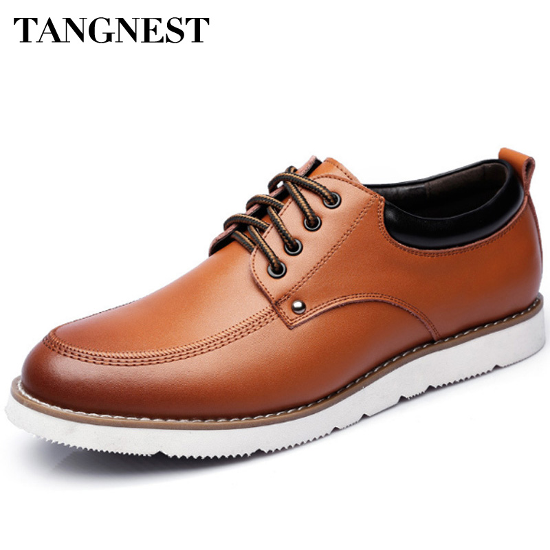 Tangnest Men Leisure Dress Shoes 2017 New Men Lace Up Casual Shoes British Style Patchwork Flats Cow Split Leather Shoes XMP847<br>